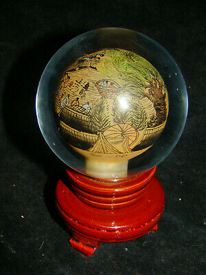 Asian Reverse Hand Painted Glass Globe Orb Dome Chinese Japanese Ball Stand Vtg