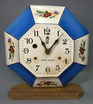 Miller Limoges 8 Day Ceramic Clock With Wooden Stand