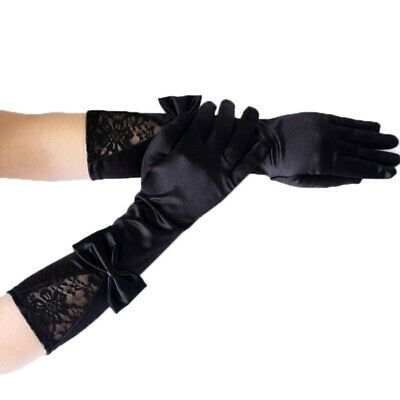 Women Black Lace Patchwork Satin Gloves Bowknot Sexy Clubwear Party Dance Glo JQ