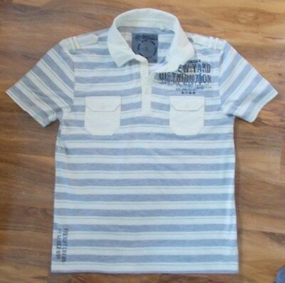 Next Mens Lemon/Grey Striped Short Sleeve Polo Shirt With 2 Front Pockets Size L