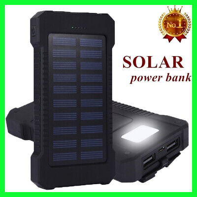 Fast Charging Waterproof Solar Power Bank 500000mAh 2 USB Charger Battery Pack