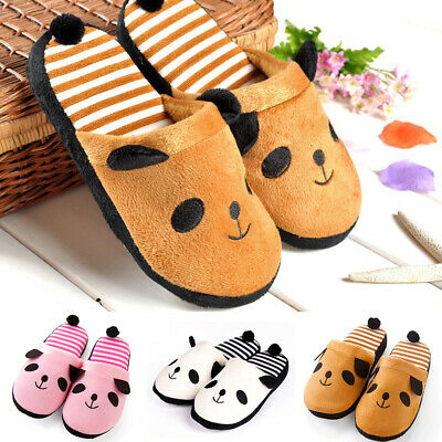 Fashion Women Girls Cute Panda Winter Warm Plush Antiskid Indoor Home Slippers