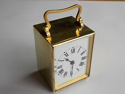 Nice Antique Small Gilt Carriage Clock & Key Platform Escapement Working Order