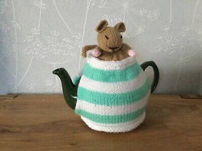 Sleepy Dormouse Tea Cosie / Cosy cover Hand Knitted.Great Gift