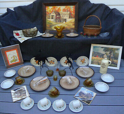Vtg 55 Lot 1970 Autumn Fall Thanksgiving Barn Basket Candle Holder Kitchen Decor