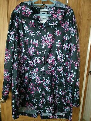 Joules Right as Rain Waterproof Coat Size 16 Black Floral