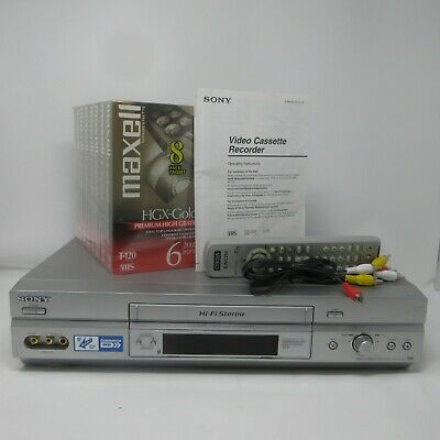 Sony SLV-N750 VCR Player Recorder w/Remote, A/V Cables,  8 blank tapes  6 hour