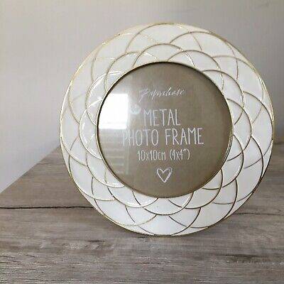 Paperchase Beautiful Round White/Gold Metal Photo Frame Home Decor With Stand