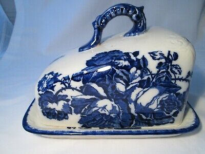 Large Antique Ironstone Staffordshire Blue & White Covered Cheese Dish