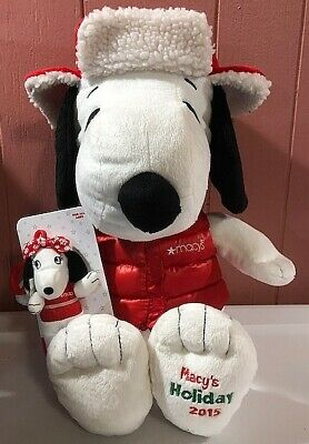 Macy's Exclusive 2015 Holiday Snoopy W/ Sister Belle Backpack Clip Plush