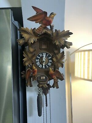Vintage Cuckoo Clock With Birds, Leaves & Nest W Eggs, Made In Germany
