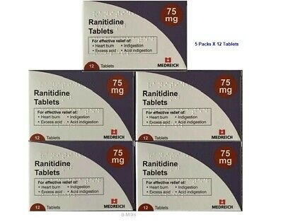 Ranitidine 75mg tablets 5 Packets x 12 Tablets   ~ Mix BN
