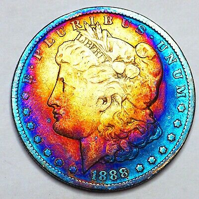 1888-O Rainbow Toned Morgan Silver Dollar 90% Silver $1 Coin Us #E65