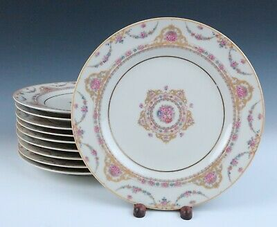Set 10 Vintage Haviland Limoges DINNER PLATES French Porcelain Clio Pink Roses