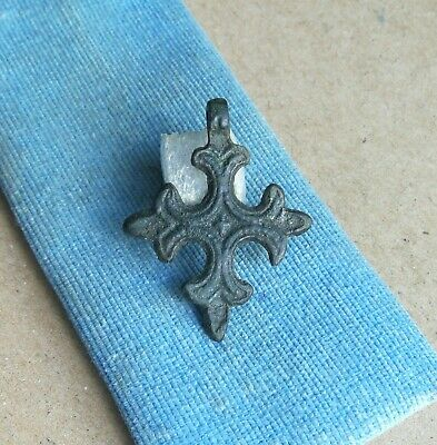 Ancient Viking bronze cross with rare ornament Kyiv Rus 11-13 AD VERY RARE