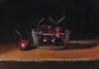 ACEO Cherries in a Glass Bowl Original Miniature Fruit Still Life Oil Painting