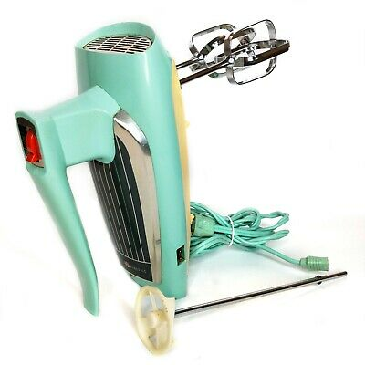 Vintage GENERAL ELECTRIC 3-Speed Hand Mixer Atomic Turquoise Model 30M47 MCM