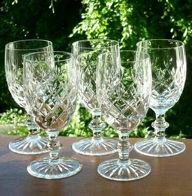 """Set x5,Lge.6""""High Quality Traditional Hand Cut Crystal Wine Glasses.Unidentified"""