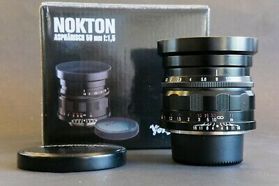 Voigtländer Nokton 50mm f1.5 lens. Black. Excellent condition.