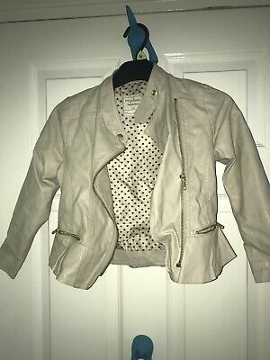 Girls AGE 6-7YRS smart casual beige leather look jacket VGC (H73)