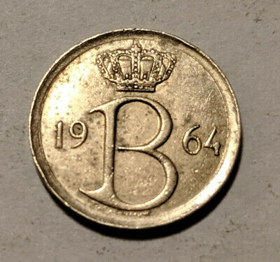 BELGIUM coin 25 Centimes 1964 KM 153 Baudouin I Dutch text 25.2