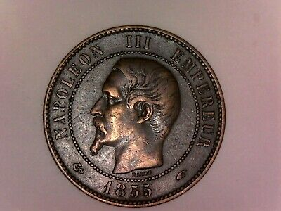 1855 A France 10 Centimes VF+/XF- Nice coin! L6-133