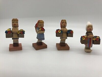 Vintage Erzgebirge Expertic Flower Girls Lot Of 4 German Carved Wood Figurines