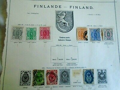 1889-1891 Finland Stamp Collection on old album page - mixed condition 9 stamps