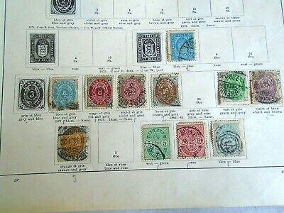 1875-1885 Denmark Stamp Collection on old album page - mixed condition 11 stamps