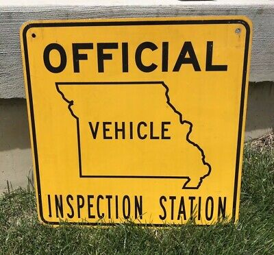 Authentic Double-Sided MO Official Vehicle Inspection Station Gas Station Sign