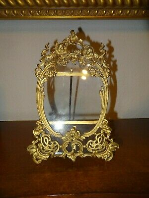 Vintage Victorian Brass Picture Photo Frame Table Top Easel Style Ornate