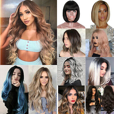 Ladies Long/Short Straight Wig Ombre Curly Wavy Full Hair Bob Wigs Cosplay Party