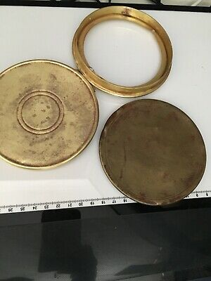 2 ANTIQUE CLOCK Brass BACK DOORS (Y)