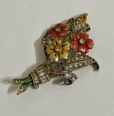 Vintage Gorgeous Art Deco Enamel Rhinestone Coro Flower Brooch Pin