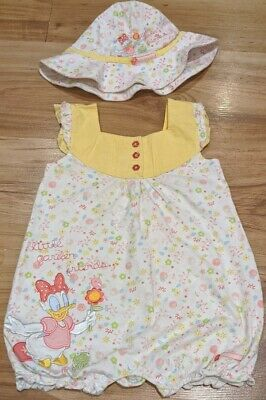 Baby Girl Disney Store Daisy Duck Romper Outfit Set Floral Summer 12-18months