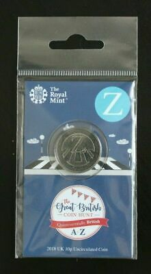 """Uncirculated 2018 A to Z 10p coin""""Z"""" in Royal Mint card and hanging bag"""