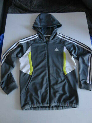 Adidas Climalite Tracksuit Jacket Hoody Zip Front Grey Boys/Girls 12-14Years 164