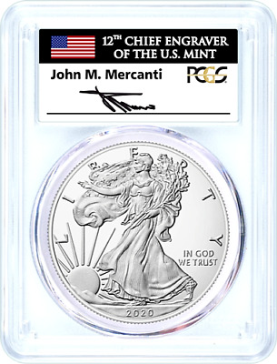 2020-P Emergency Issue Silver Eagle-Pcgs Ms70-Fdoi-Mercanti-Flag-Population 350!