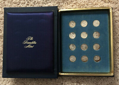 1970 Franklin Mint Treasury of Zodiac Sterling Silver Medals Display Box/slipcas