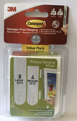 3M Command 8x Large & 4x Medium Picture Hanging Strips, Damage Free Hanging