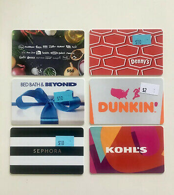 Lot of Gift Cards $42 Value - Amazon, Bed Bath & Beyond, Dunkin Donuts, Sephora