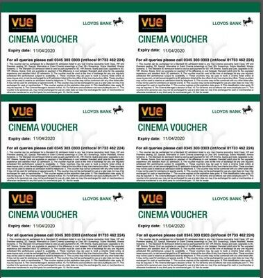 6 x VUE VIP Cinema Tickets Expiration 27/04/2021. Digital Delivery Only,