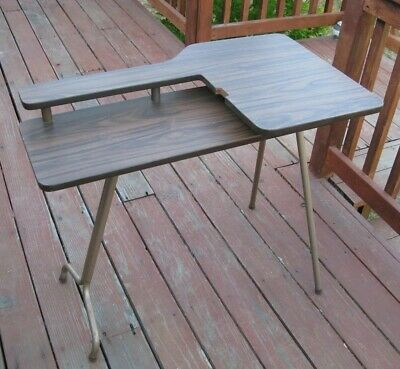 Mid Century Vintage Sewing Table Dorm Portable Writing 2-Tier Folding Legs USA