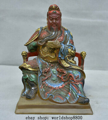 """8.4"""" Old China coloured glaze Painting Guan Gong Yu Warrior God Dragon Statue"""