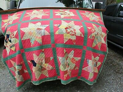 "Old Hand Made Quilt Star Pattern w/ Old Material Green Back 66"" X 86"""