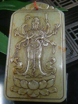 Antique Chinese Nephrite Celadon-HETIAN-OLD Jade More-KUANYIN-Statues/Pendant