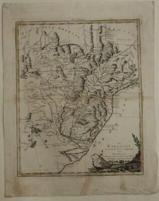 Paraguay Uruguay Northern Argentina 1785 Zatta Antique Copper Engraved Map