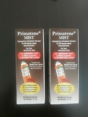 2x NON PERSCRIPTION PRIMATENE MIST ASTHMA RELIEF INHALER 160 METERED Exp. 3/2022