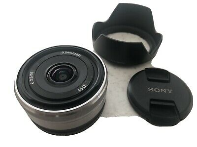 Sony SEL SEL16F28 Wide Angle 16mm f/2.8 AF MF Prime Lens + Covers and Hood