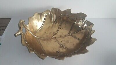 Grande coupe a fruits en bronze, art deco, en forme de feuille